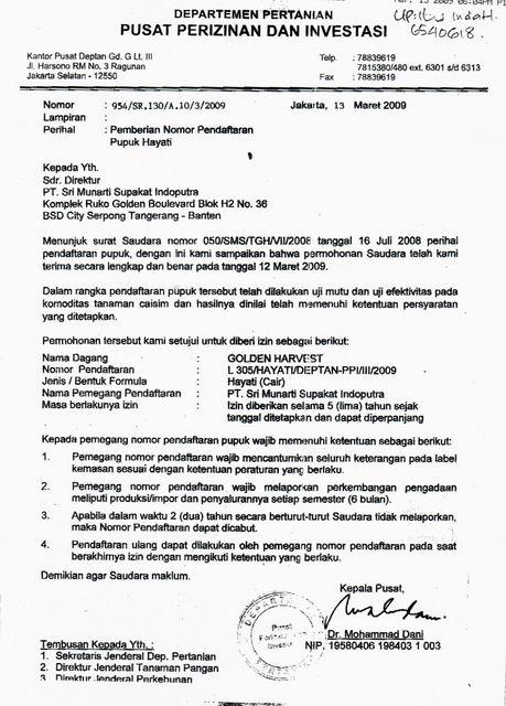 Surat perizinan departemen pertanian untuk pupuk tgh